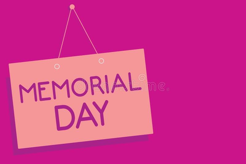 显示阵亡将士纪念日的文本标志 尊敬和记住在兵役桃红色委员会墙壁messa死的那些人的概念性照片 库存例证
