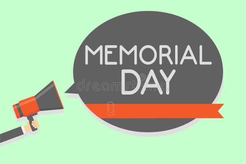 显示阵亡将士纪念日的概念性手文字 陈列对荣誉和记住在军事servic死的那些人的企业照片 皇族释放例证