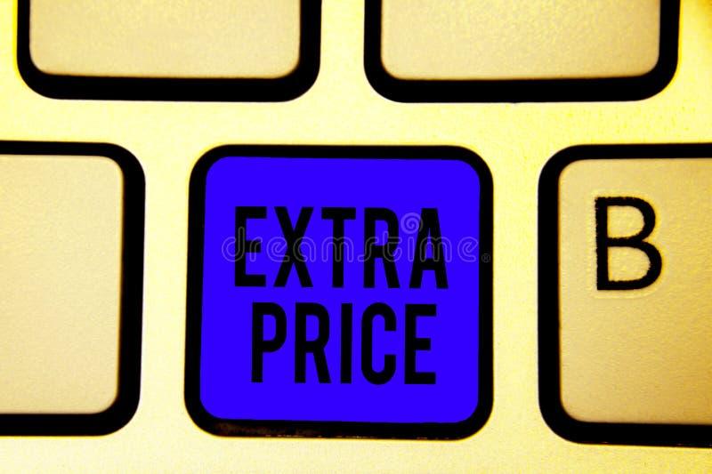 显示附加价格的文本标志 在普通的大程度键盘蓝色关键Intentio之外的概念性照片附加价格定义 免版税库存图片