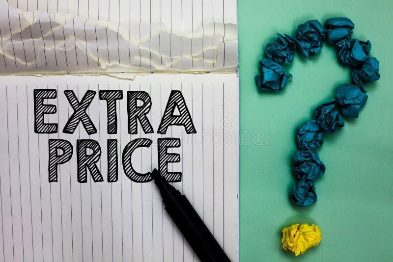 显示附加价格的概念性手文字 企业照片文本在普通的大程度笔记本之外的附加价格定义 库存照片
