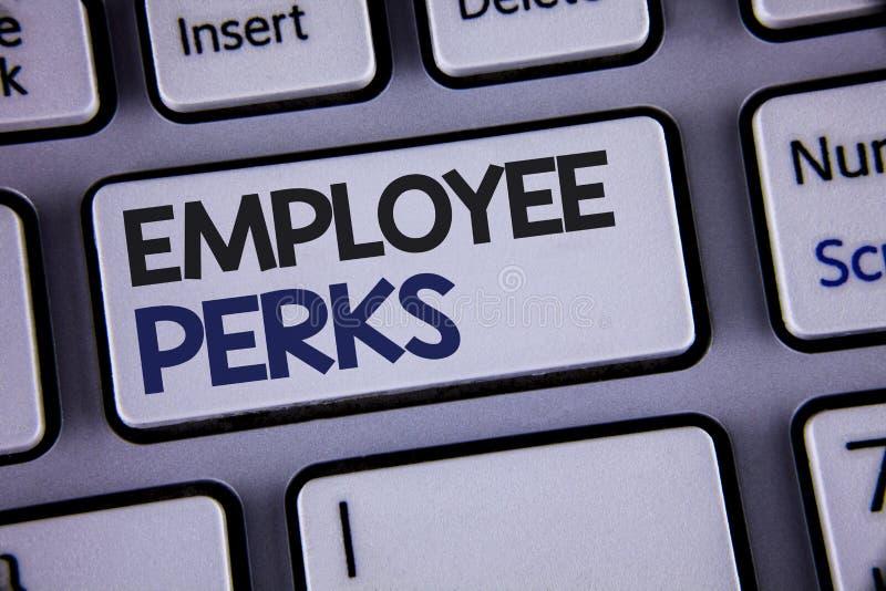 显示雇员津贴的概念性手文字 企业照片陈列的工作者有益于奖金报偿奖励健康Insu 库存照片