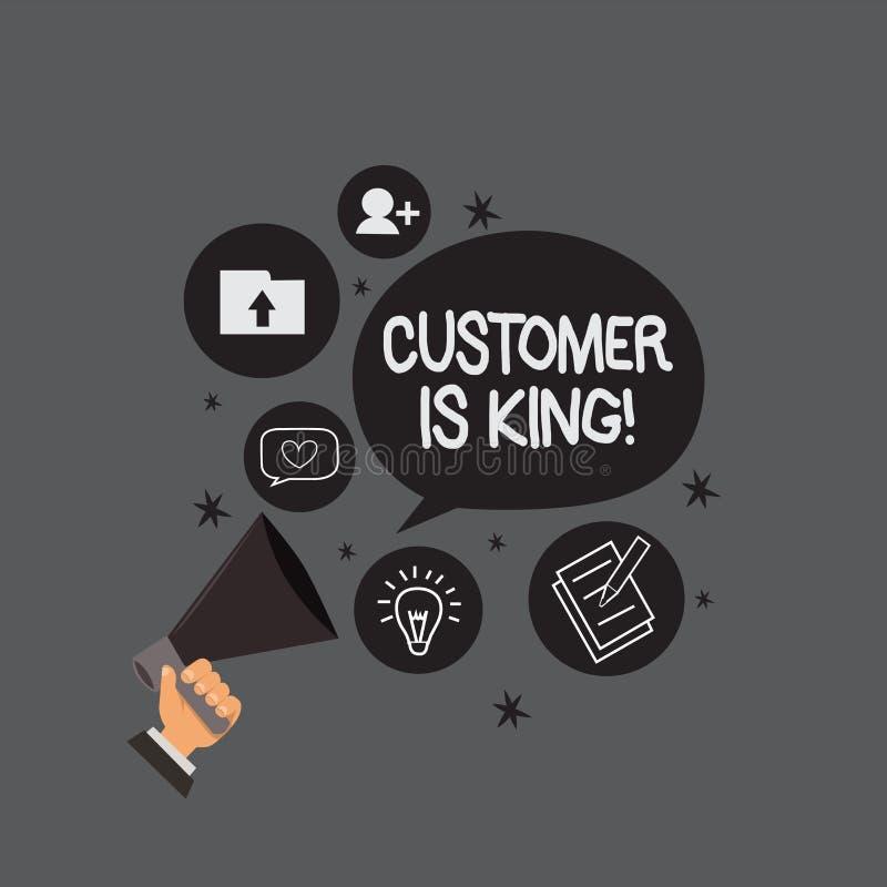 显示顾客的文字笔记是国王 企业照片陈列的服务迫切地殷勤地和适当地提供需要 向量例证