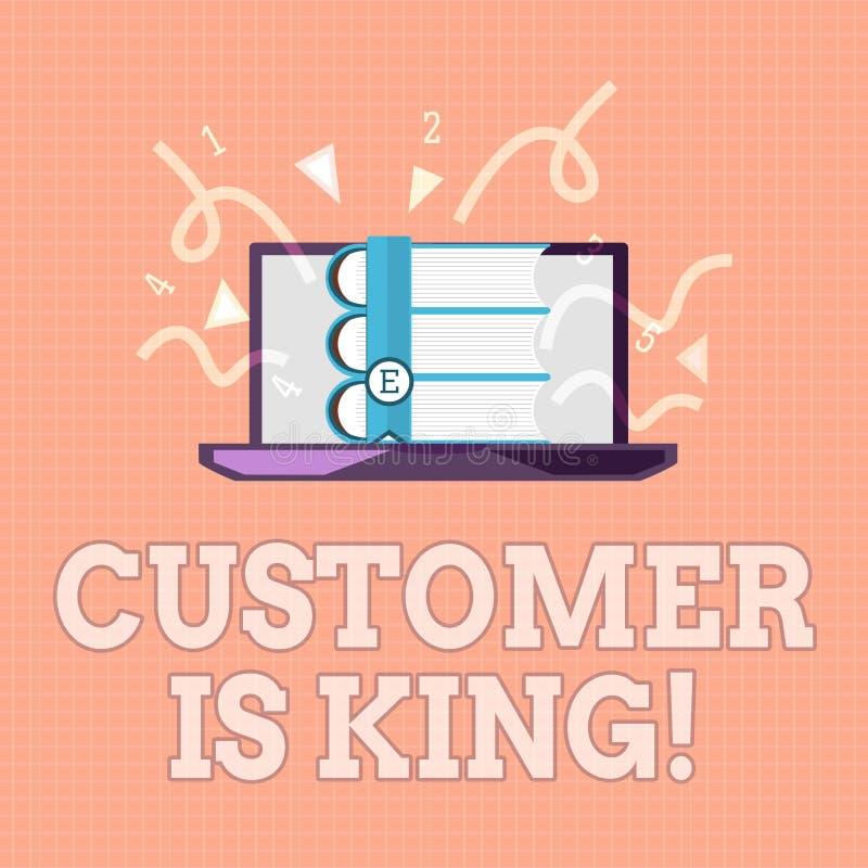 显示顾客的文本标志是国王 殷勤概念性照片服务和迫切地适当地提供需要 库存例证