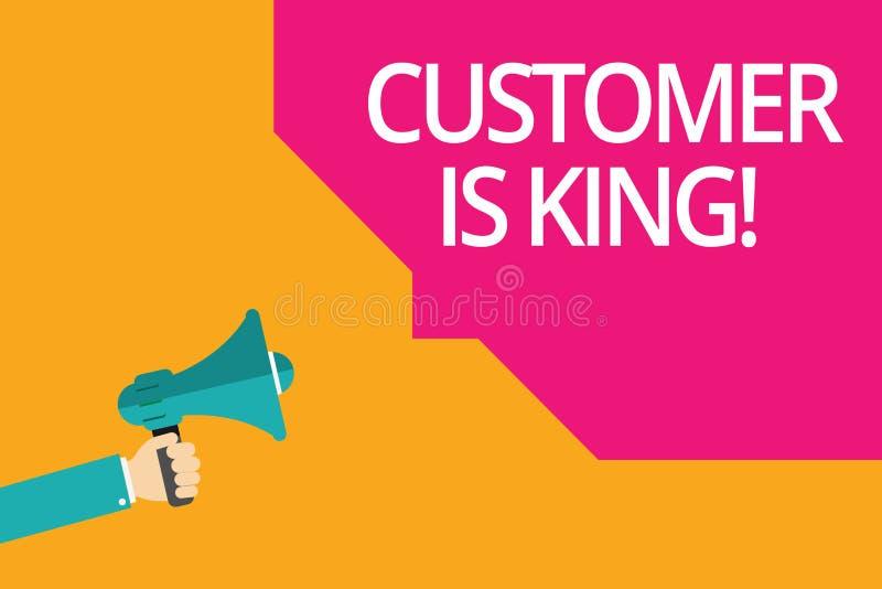 显示顾客的概念性手文字是国王 企业照片殷勤文本服务和迫切地适当地提供需要 向量例证