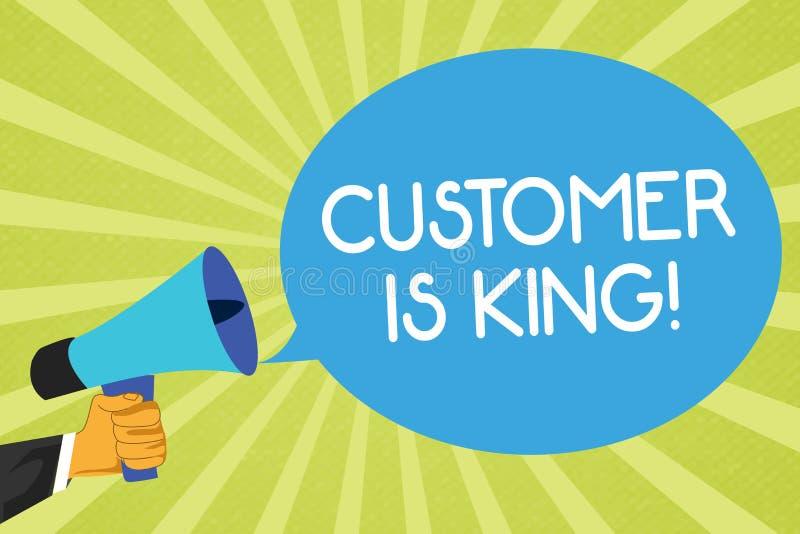 显示顾客的概念性手文字是国王 企业照片陈列的服务殷勤地和适当地交付需要urgen 向量例证