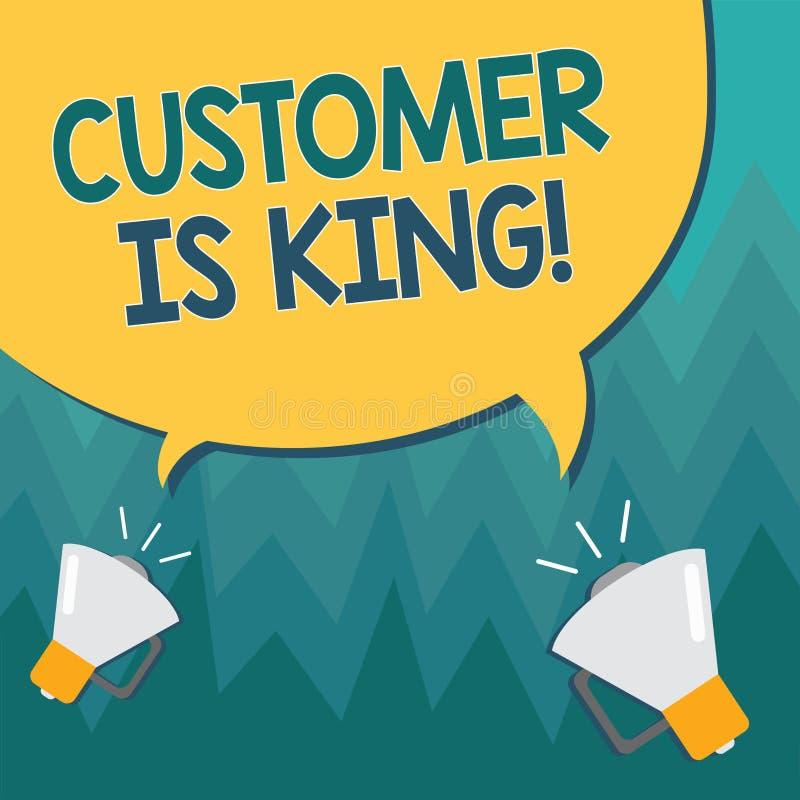 显示顾客的概念性手文字是国王 企业照片陈列的服务殷勤地和适当地交付 皇族释放例证