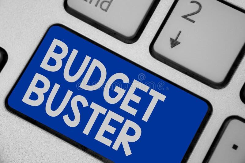显示预算钉头切断机的文字笔记 陈列无忧无虑的消费的企业照片讲价过度花费Keyboa的多余的购买 库存照片