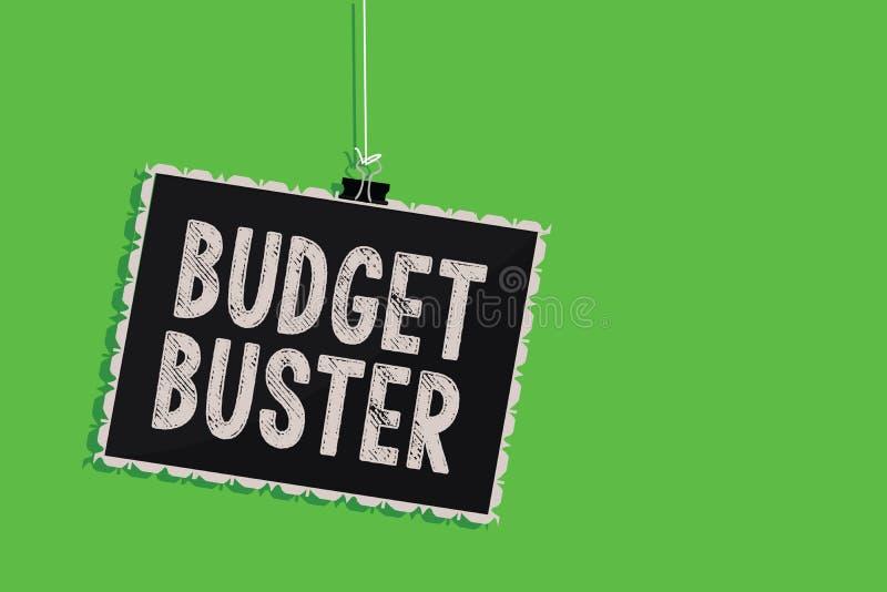 显示预算钉头切断机的文本标志 概念性照片无忧无虑的消费讲价过度花费垂悬的黑板的多余的购买 皇族释放例证