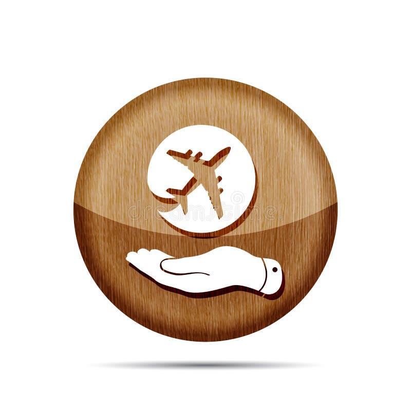显示飞机象的木平的手 皇族释放例证