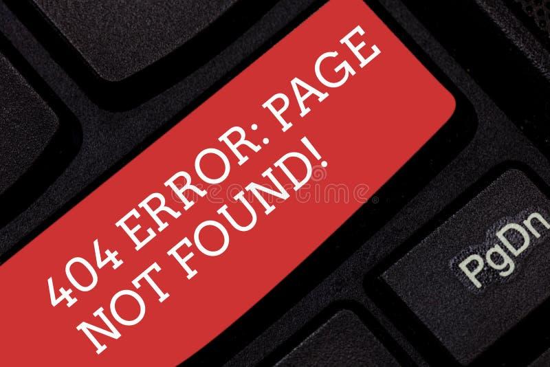显示404个错误页的文字笔记没找到 去除了在服务器上的企业照片陈列的网页或被移动了 免版税图库摄影