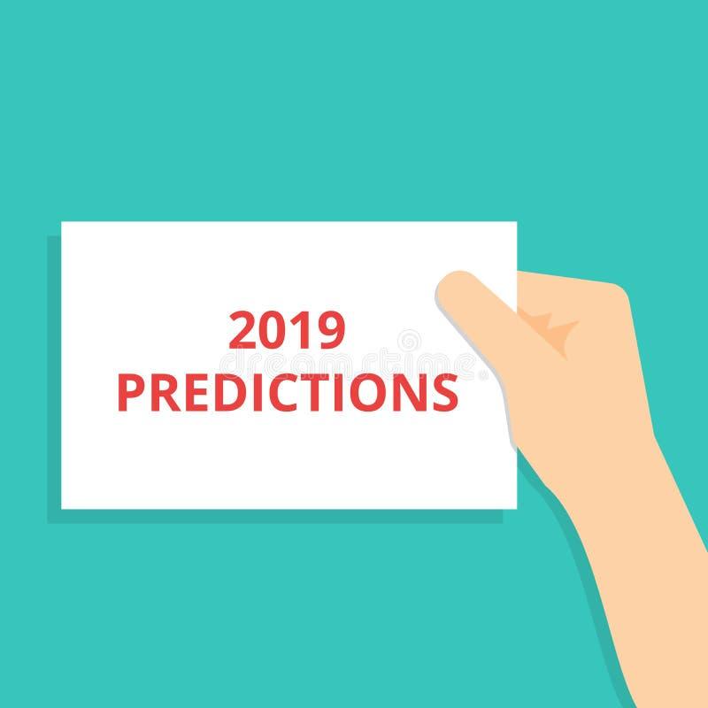 显示2019个预言的手写的文本 向量例证