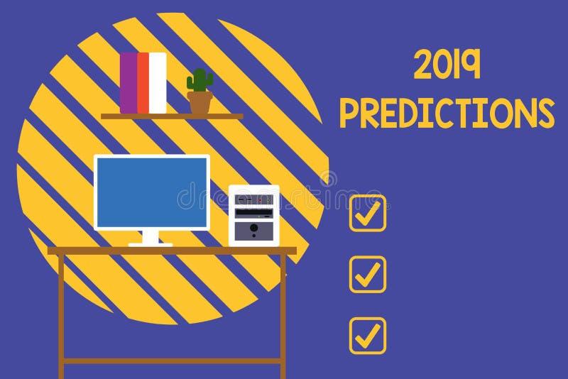显示2019个预言的文本标志 关于什么的概念性照片声明您认为将发生2019年台式电脑 向量例证