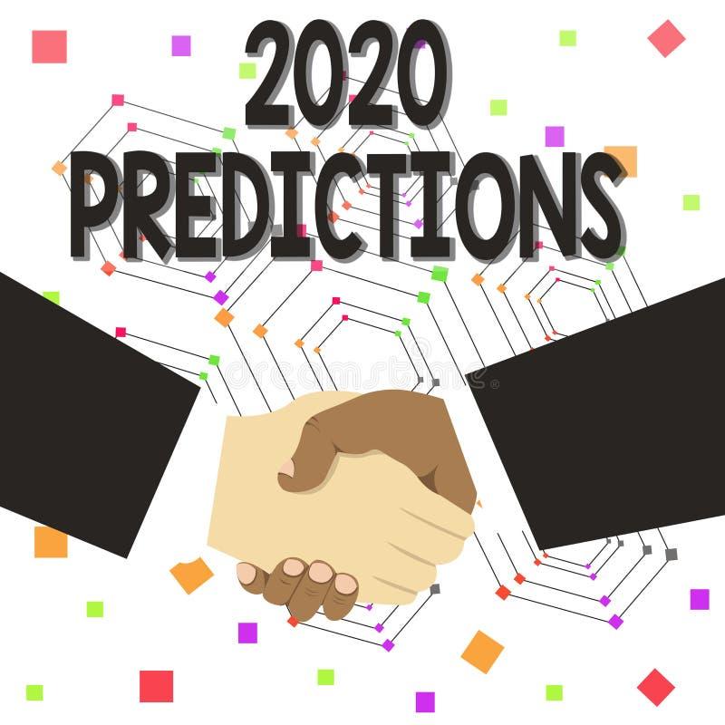 显示2020个预言的文本标志 概念性照片明细表您感觉那去发生,不用证明手 皇族释放例证