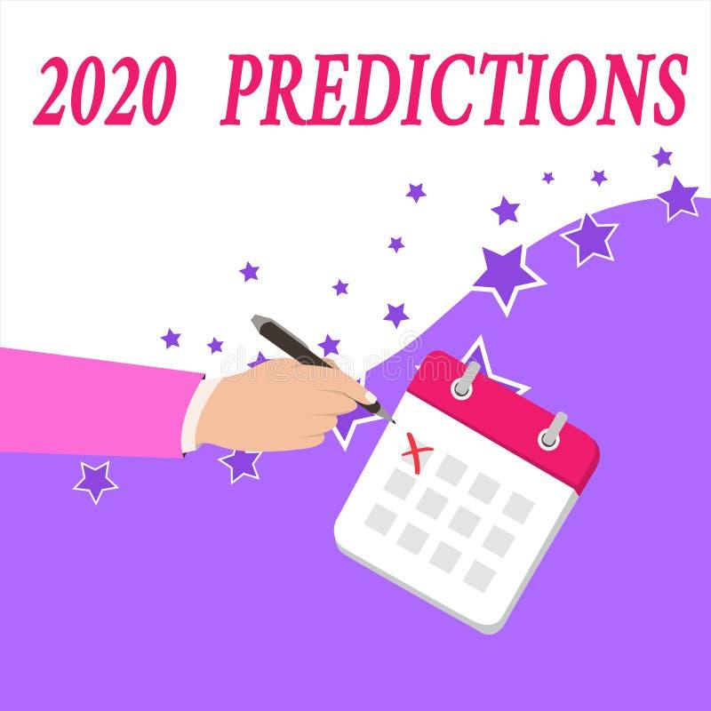 显示2020个预言的文本标志 概念性照片明细表您感觉那去发生,不用证明男性 库存例证