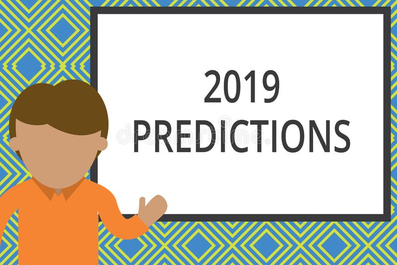显示2019个预言的概念性手文字 企业照片关于什么的文本声明您认为在2019年将发生 向量例证