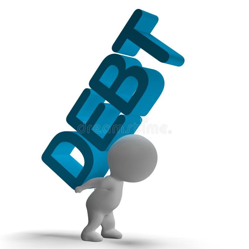 显示破产和贫穷的债务词和3d字符 皇族释放例证