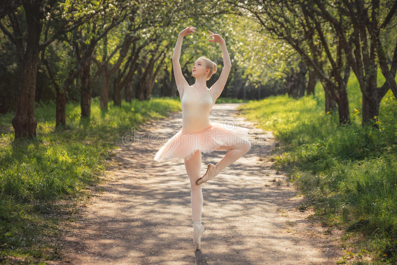 显示经典芭蕾的年轻跳芭蕾舞者摆在户外在太阳 免版税库存照片