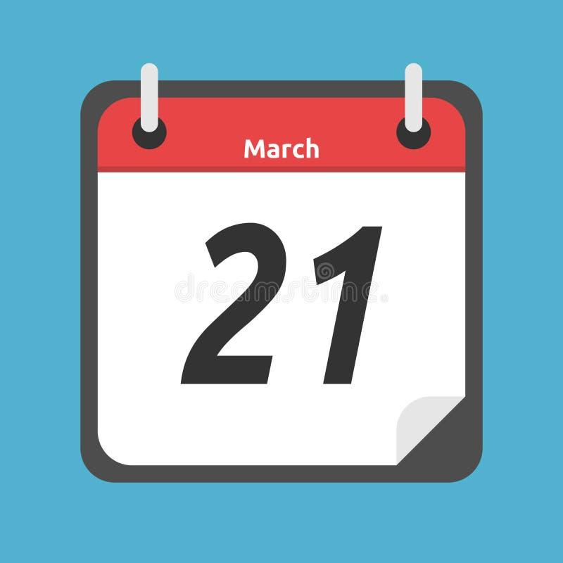 显示3月, 21日的日历 库存例证