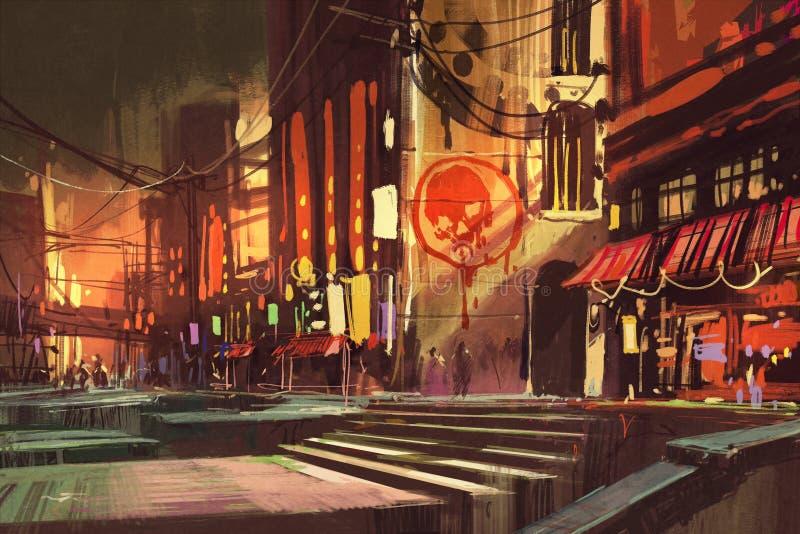显示购物街道,未来派都市风景的科学幻想小说场面 皇族释放例证