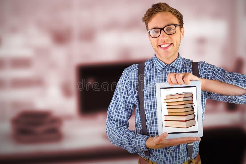 显示他的片剂个人计算机的万人迷商人的综合图象 免版税图库摄影