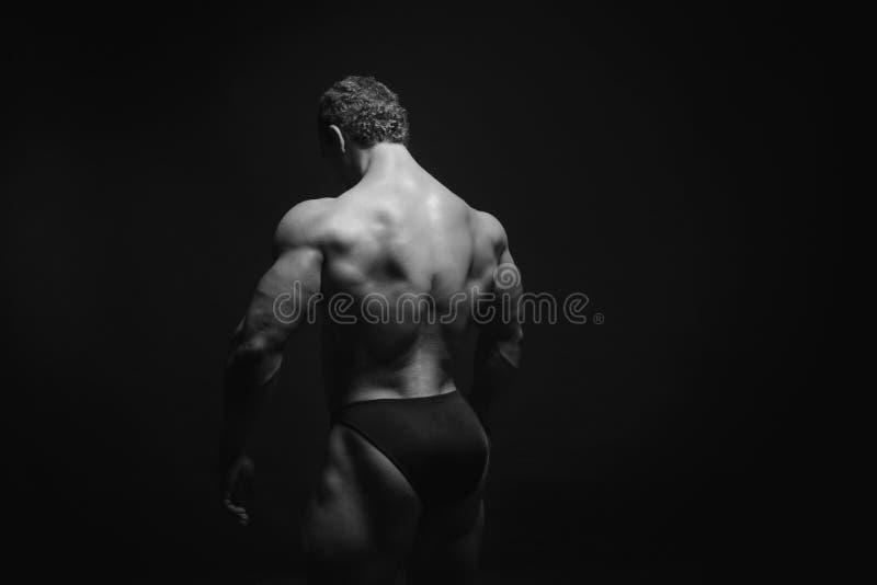 显示他的肌肉的男性模型后面 免版税库存照片