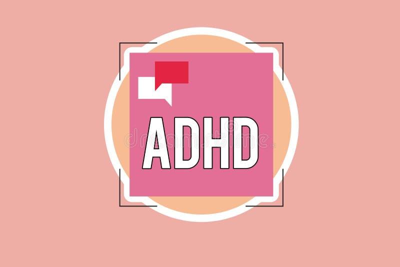 显示Adhd的文字笔记 陈列儿童活动过度的麻烦的精神健康混乱企业照片给予注意 库存例证