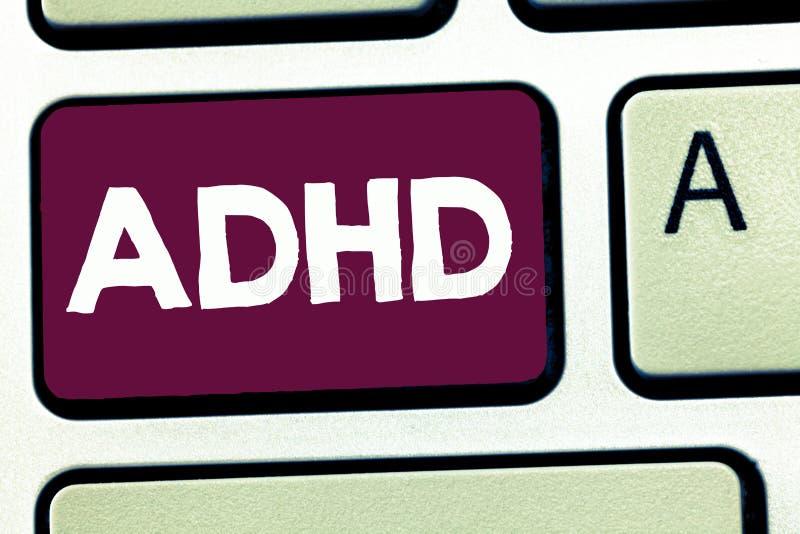 显示Adhd的文本标志 儿童活动过度的麻烦概念性照片精神健康混乱给予注意的 向量例证