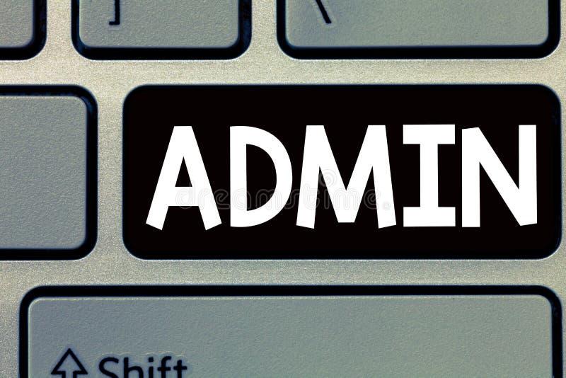 显示Admin的概念性手文字 企业照片政府人行政部门的文本官员  免版税库存照片