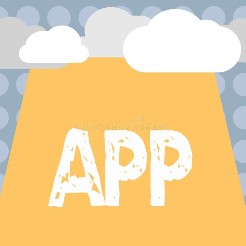 显示App的概念性手文字 企业照片文本计算机程序由一名用户的下载软件一个移动设备的 向量例证