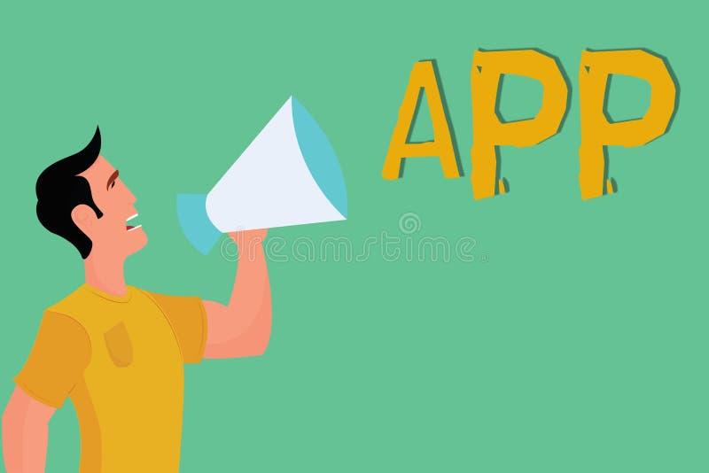 显示App的概念性手文字 由一名用户的企业照片陈列的计算机程序下载软件机动性的 向量例证