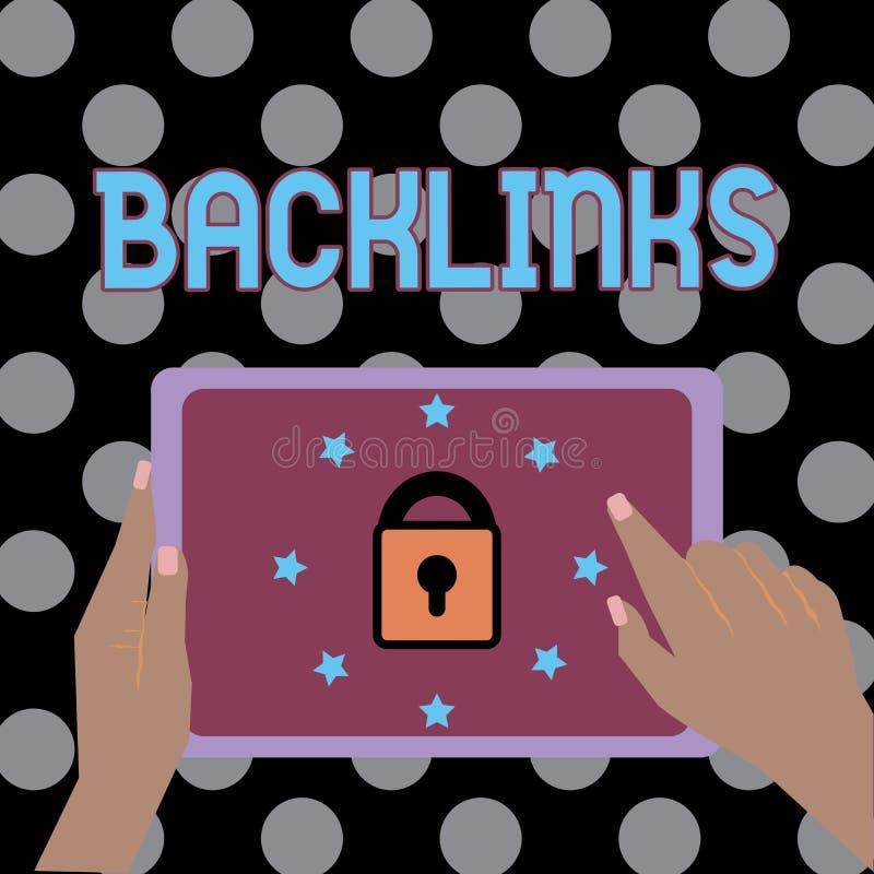 显示Backlinks的概念性手文字 从一个网页的企业照片文本接踵而来的超链接到另一位大网站女性 向量例证