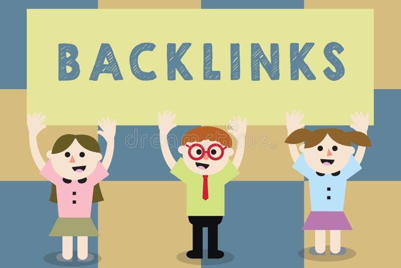 显示Backlinks的概念性手文字 从一个网页的企业照片文本接踵而来的超链接到另一所大网站学校 库存例证