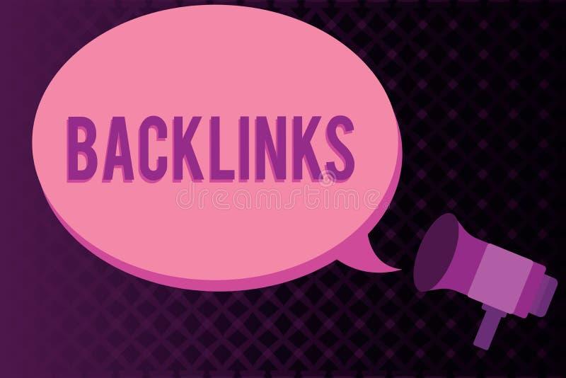显示Backlinks的概念性手文字 陈列从一个网页的企业照片接踵而来的超链接到另一个大网站 向量例证