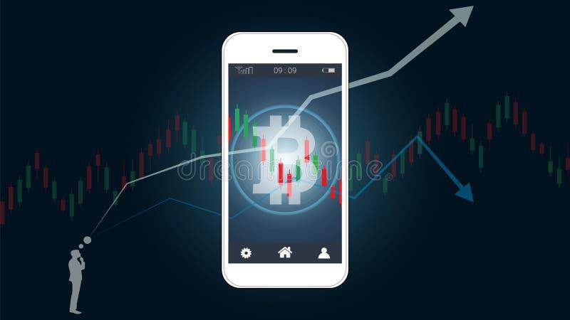 显示bitcoin和烛台的巧妙的电话屏幕财政图表绘制爬上图表 皇族释放例证