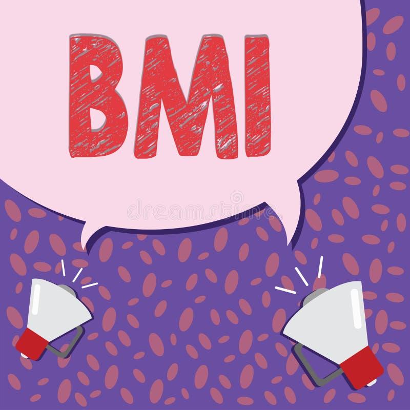 显示Bmi的文字笔记 估计根据重量和高度的体脂肪水平企业照片陈列的方法  皇族释放例证
