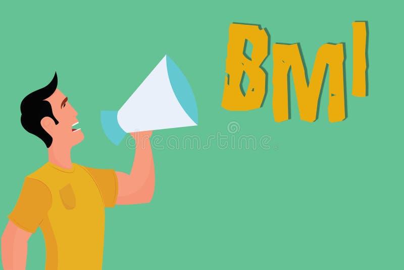 显示Bmi的概念性手文字 估计根据重量的体脂肪水平企业照片陈列的方法和 皇族释放例证