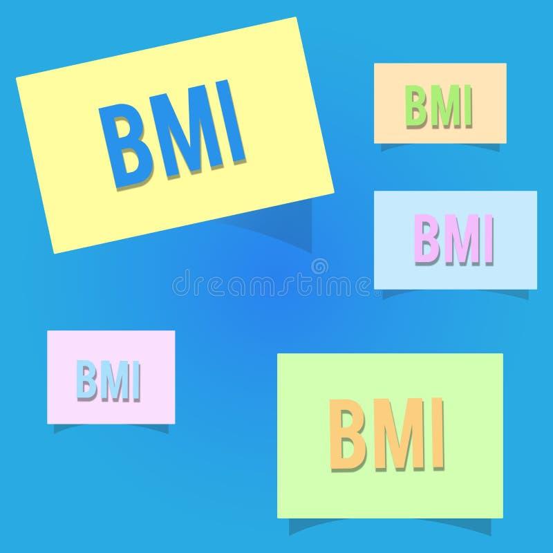 显示Bmi的概念性手文字 估计根据重量的体脂肪水平企业照片陈列的方法和 库存例证