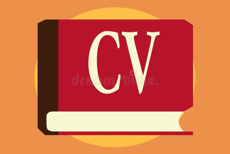 显示Cv的文字笔记 企业照片陈列的求职者生活体验教育达到技能和专门技术 库存例证