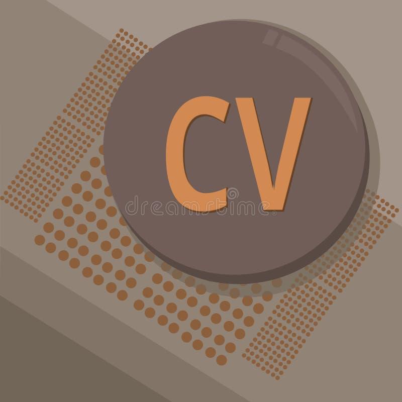 显示Cv的文字笔记 企业照片陈列的求职者生活体验教育达到技能和专门技术 皇族释放例证