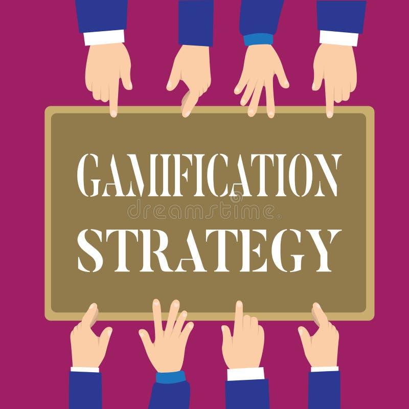 显示Gamification战略的文字笔记 刺激的企业照片陈列的用途奖励集成比赛 向量例证