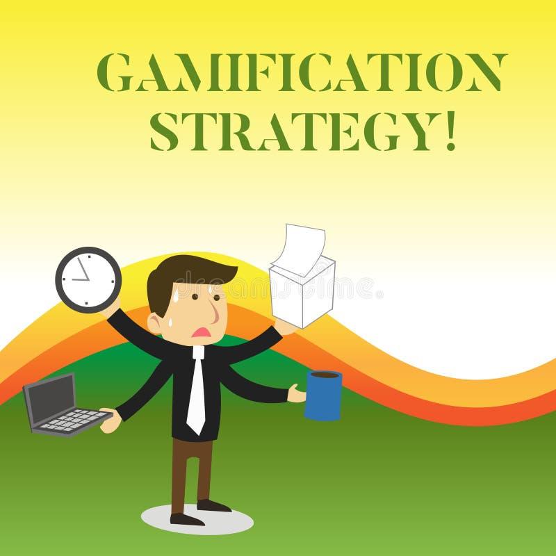 显示Gamification战略的文本标志 刺激的概念性照片用途奖励集成比赛机械工被注重 库存例证