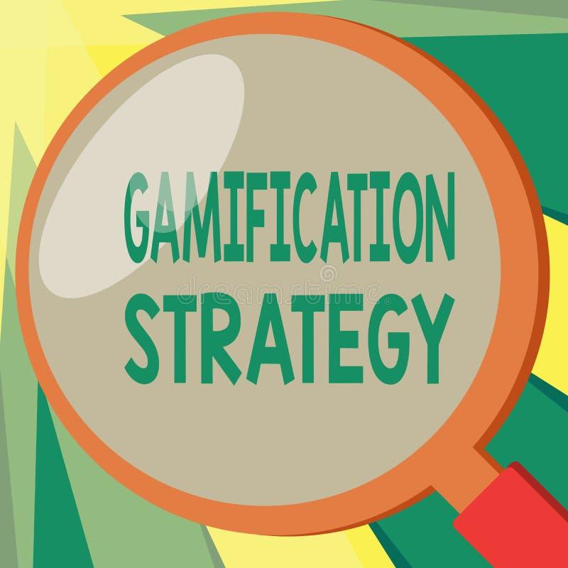 显示Gamification战略的概念性手文字 刺激的企业照片陈列的用途奖励集成 向量例证