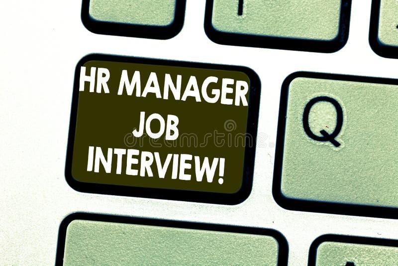 显示Hr经理面试的文本标志 搜寻雇员的概念性照片补充huanalysis资源 库存照片