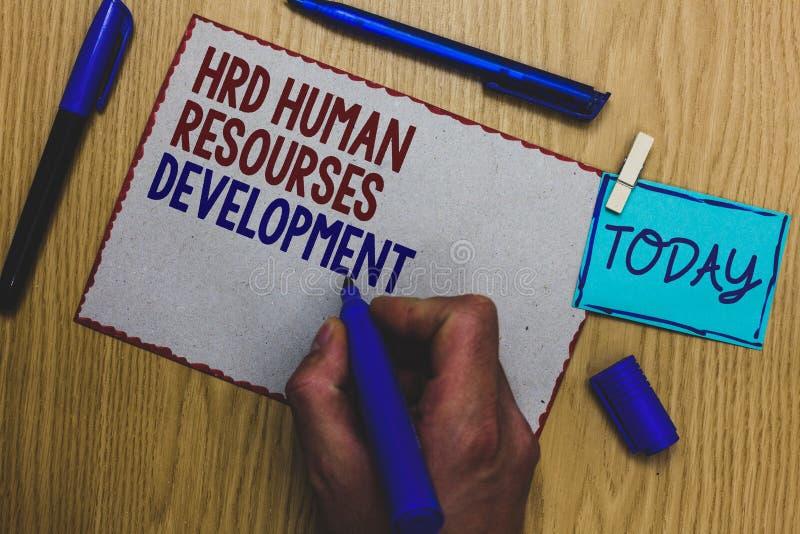 显示Hrd人力资源开发的概念性手文字 企业照片文本帮助的雇员开发个人技能人 库存照片