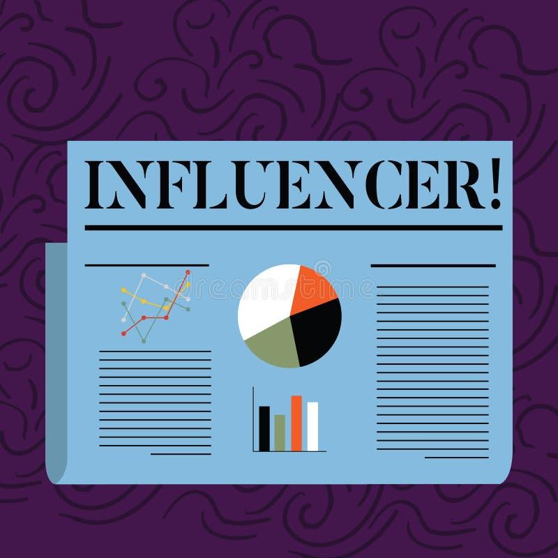 显示Influencer的文本标志 影响的概念性照片人和影响五颜六色的其他的决定观点 库存例证