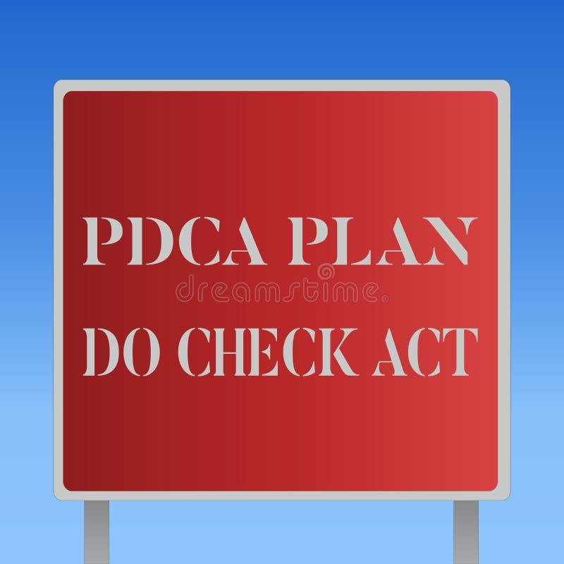 显示Pdca计划的文字笔记做检查行动 陈列Deming轮子的企业照片改进了在解决的过程 向量例证