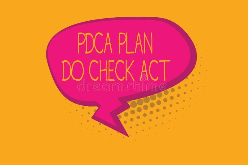 显示Pdca计划的文本标志做检查行动 概念性照片Deming轮子改进了在解决的问题的过程 向量例证