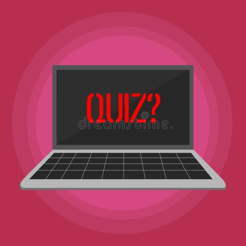 显示Quizquestion的文本标志 概念性定量您的知识膝上型计算机的照片短的测试评估考试 库存例证