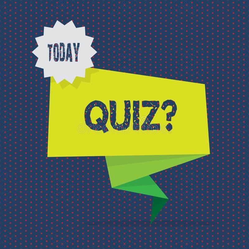 显示Quizquestion的概念性手文字 陈列短的测试评估考试的企业照片定量 皇族释放例证