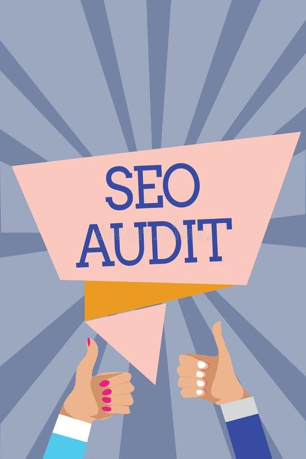 显示Seo审计的概念性手文字 企业照片文本确认和核实处理人wom的搜索引擎优化 免版税库存图片